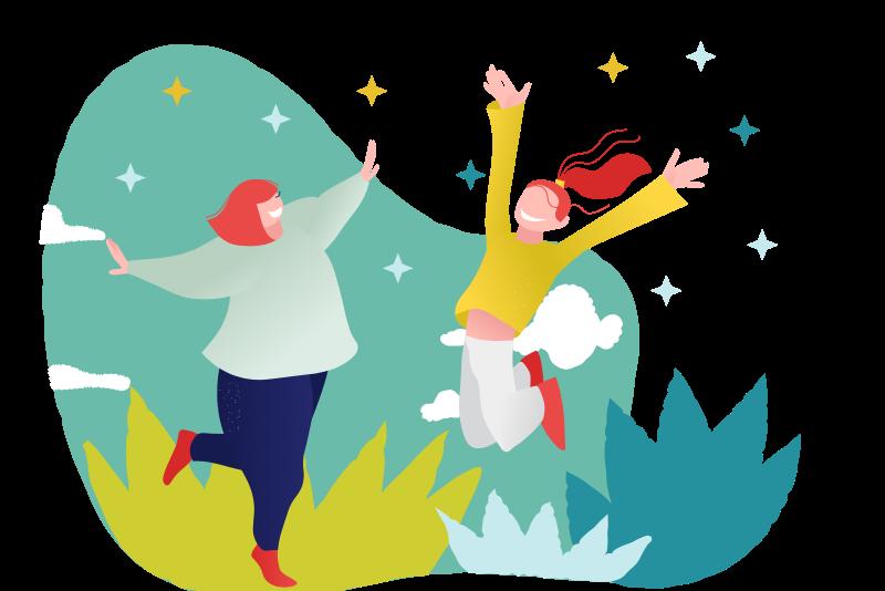 femmes heureuses sautent de joie